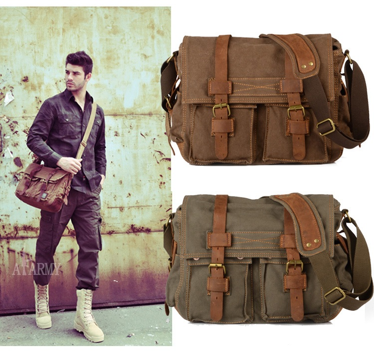 Vintage Schoudertas Heren : Men leather canvas messenger shoulder bags vintage army
